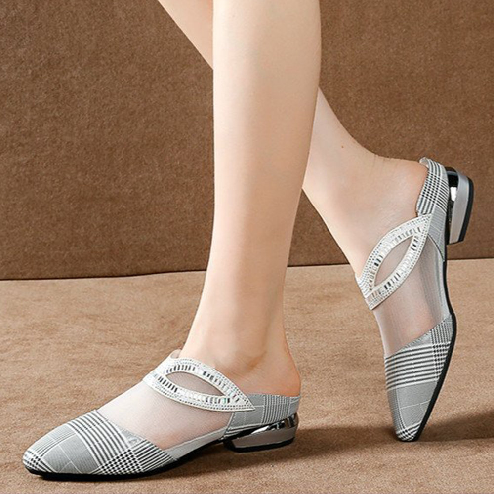 Women Casual Breathable Splicing Mesh Pointed Closed Toe Low Heel Slippers