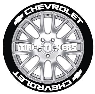 Tire Stickers CHVRLT-1416-15-8-W Permanent Raised Rubber Lettering 'Chevrolet' Logo - 8 of each -    14