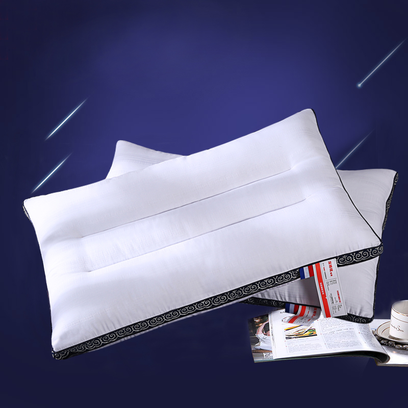 Solid White and Blue Line Cotton Polyester Filler Bed Pillow