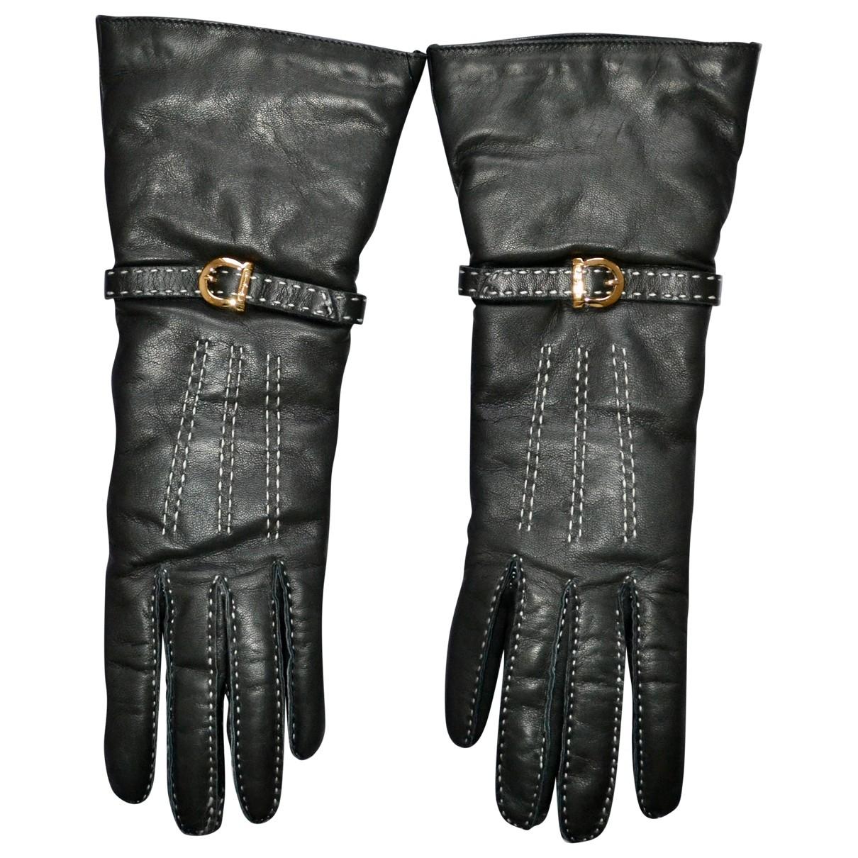 Salvatore Ferragamo \N Grey Leather Gloves for Women 7 Inches
