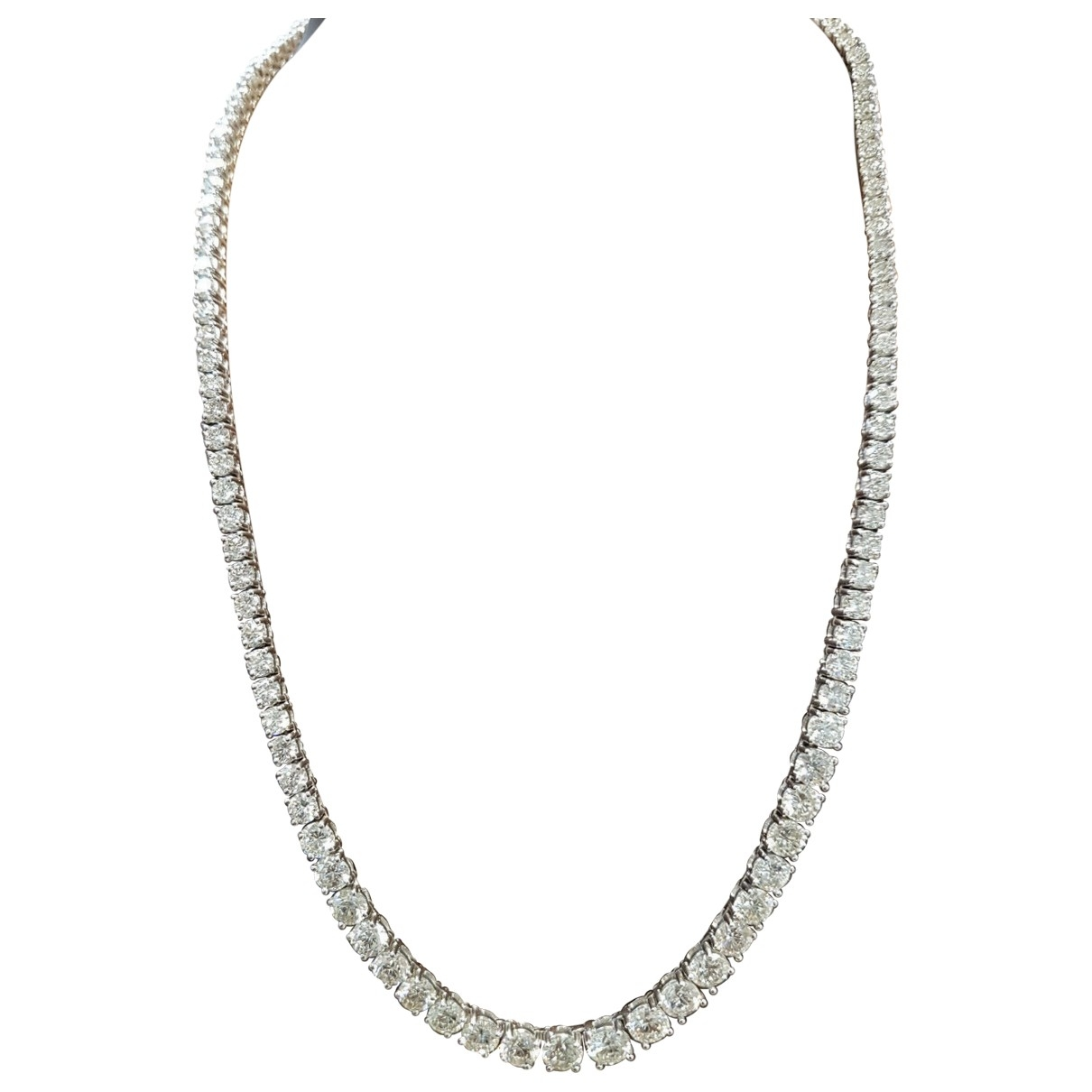 Non Signé / Unsigned Tennis Silver White gold necklace for Women \N