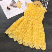 Toddler Girls Floral Embroidered Scallop A-line Dress