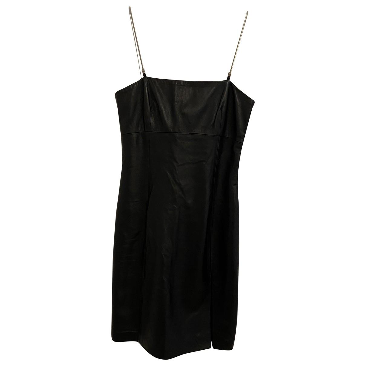 Versace Jeans \N Black Leather dress for Women 42 IT