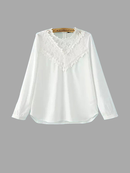 Yoins White Lace Insert Top