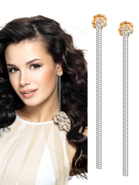Milanoo Gold Dangle Earrings Rhinestones Fringe Drop Earrings