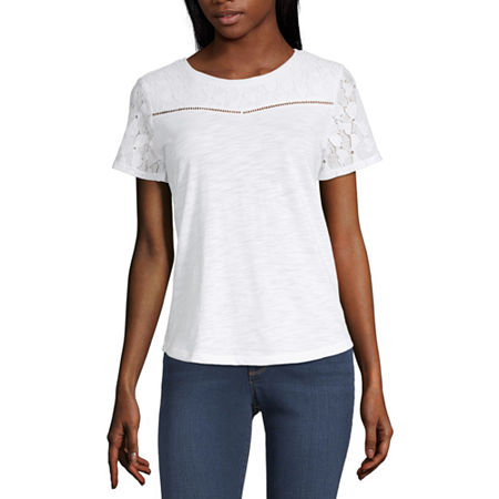Liz Claiborne Lace Yoke Tee - Tall, Small Tall , White