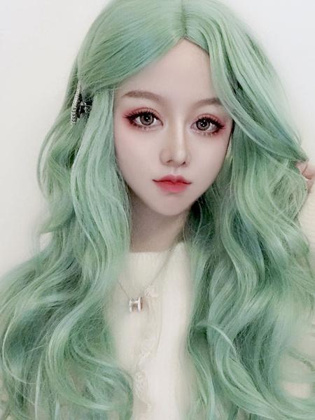 Milanoo Long Lolita Wig Curly Mint Green Central Parting Lolita Hair Wig