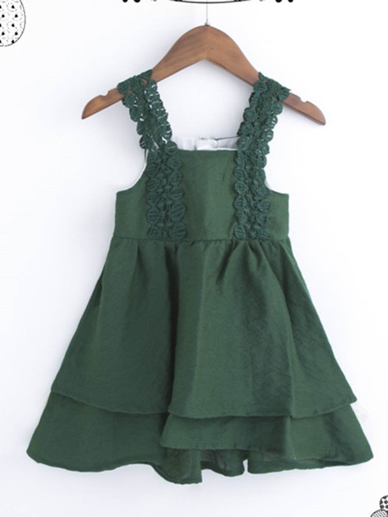 Ericdress Asymmetrical Bowknot Stpaghetti Strap Girl's Dress