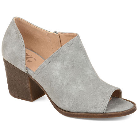 Journee Collection Womens Hartli Booties Stacked Heel Zip, 5 1/2 Medium, Gray