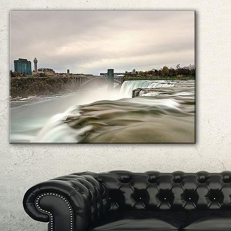 Designart Niagara Falls Goat Island View Canvas Art, One Size , Green