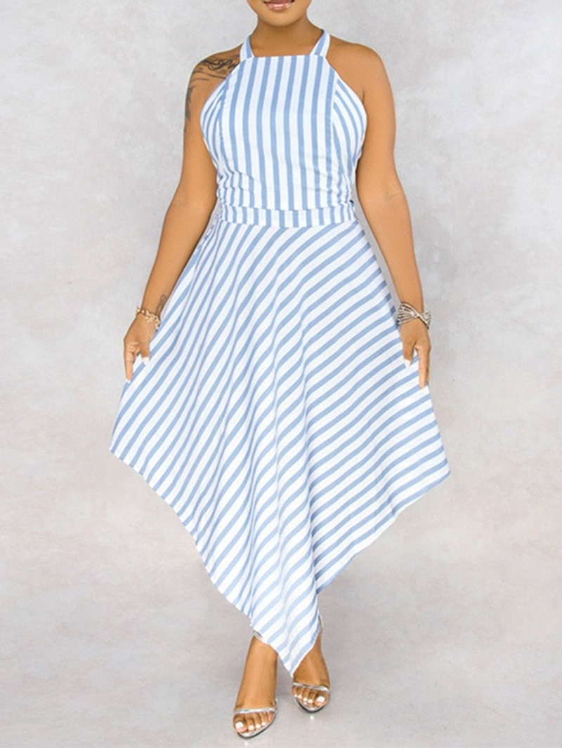 Ericdress Lace-Up Sleeveless Ankle-Length Stripe Pullover Dress