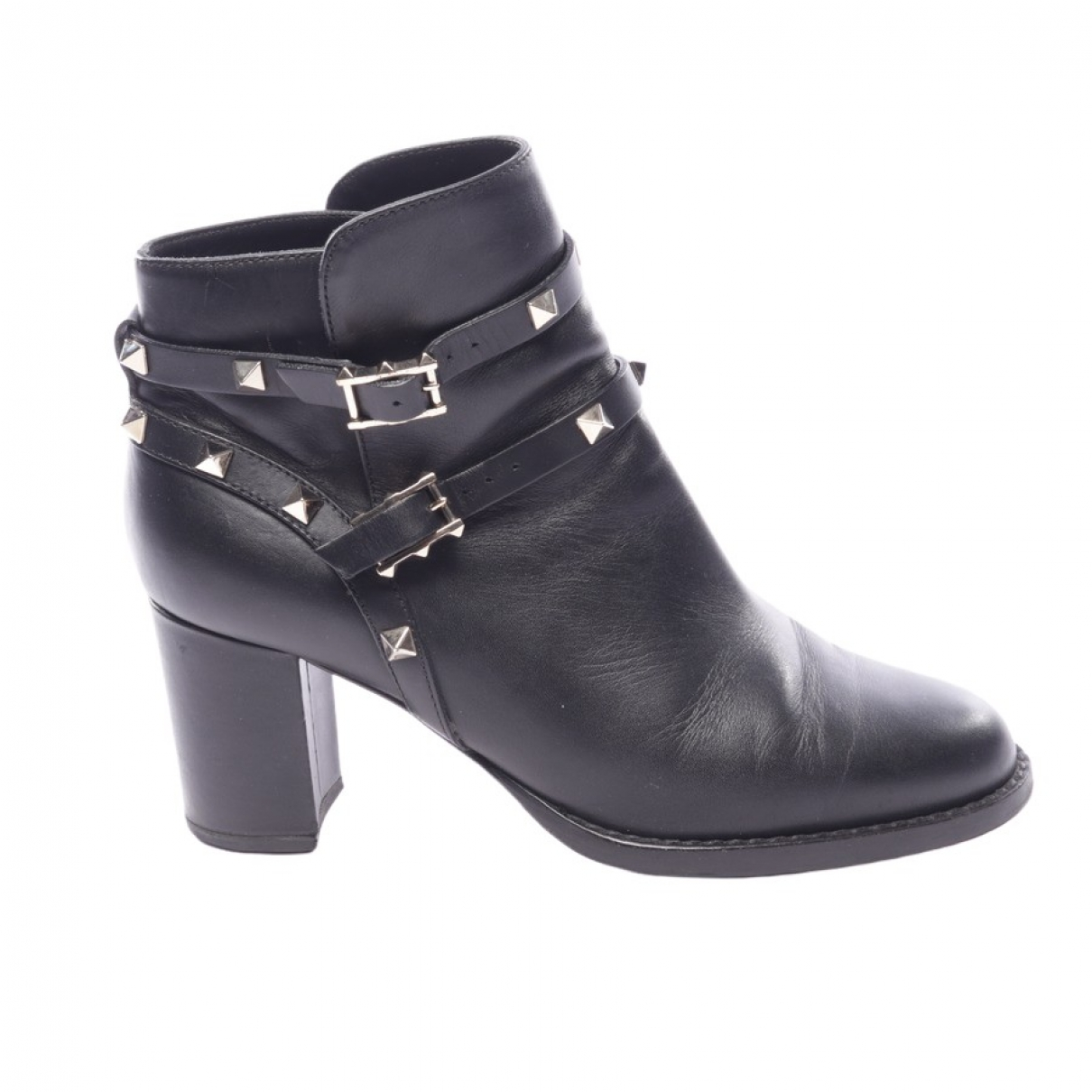 Valentino Garavani Rockstud Black Leather Ankle boots for Women 36.5 EU