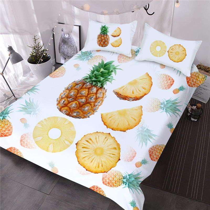Pineapple Fruit Fresh Feeling Three-Piece Set Comforter Set Reactive Printing Polyester Bedding Sets