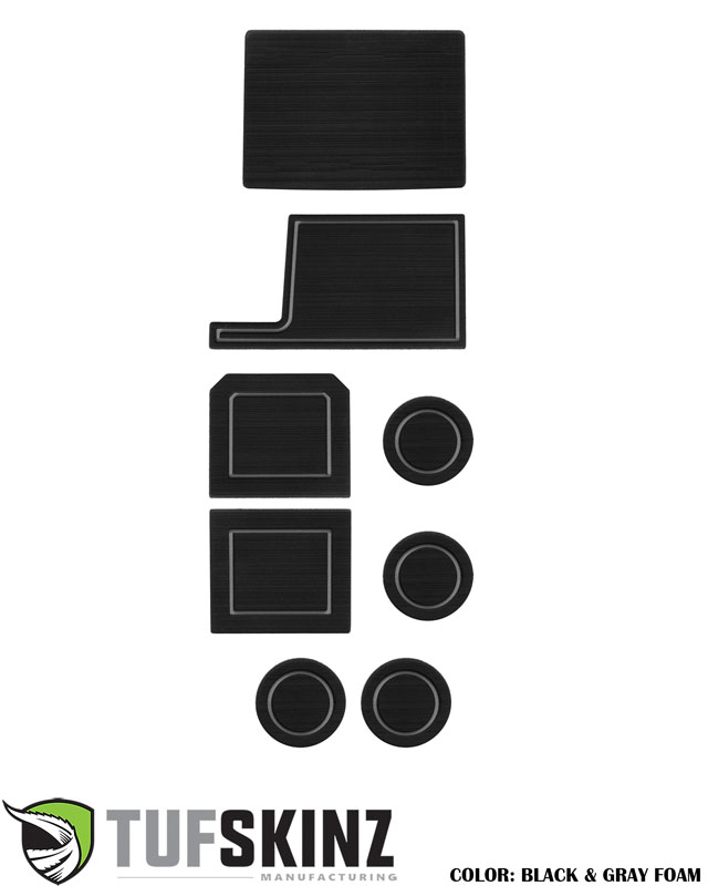 Tufskinz SUP049-FGY-X Interior Cup Holder Inserts Fits 2017-2021 Ford Super Duty F-250/ F-350/ F-450 8 Piece Kit Black/Gray