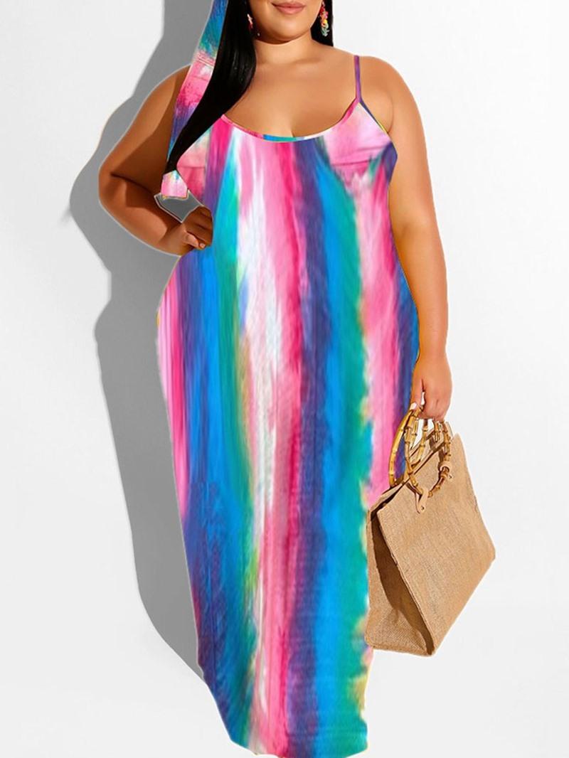 Ericdress Sleeveless Print V-Neck Mid Waist Spaghetti Strap Dress