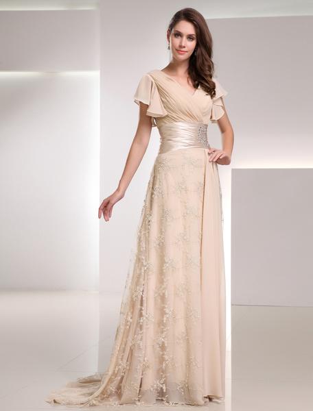 Milanoo Champagne Evening Dress Sash Ruched Rhinestone Lace Chiffon Dress wedding guest dress