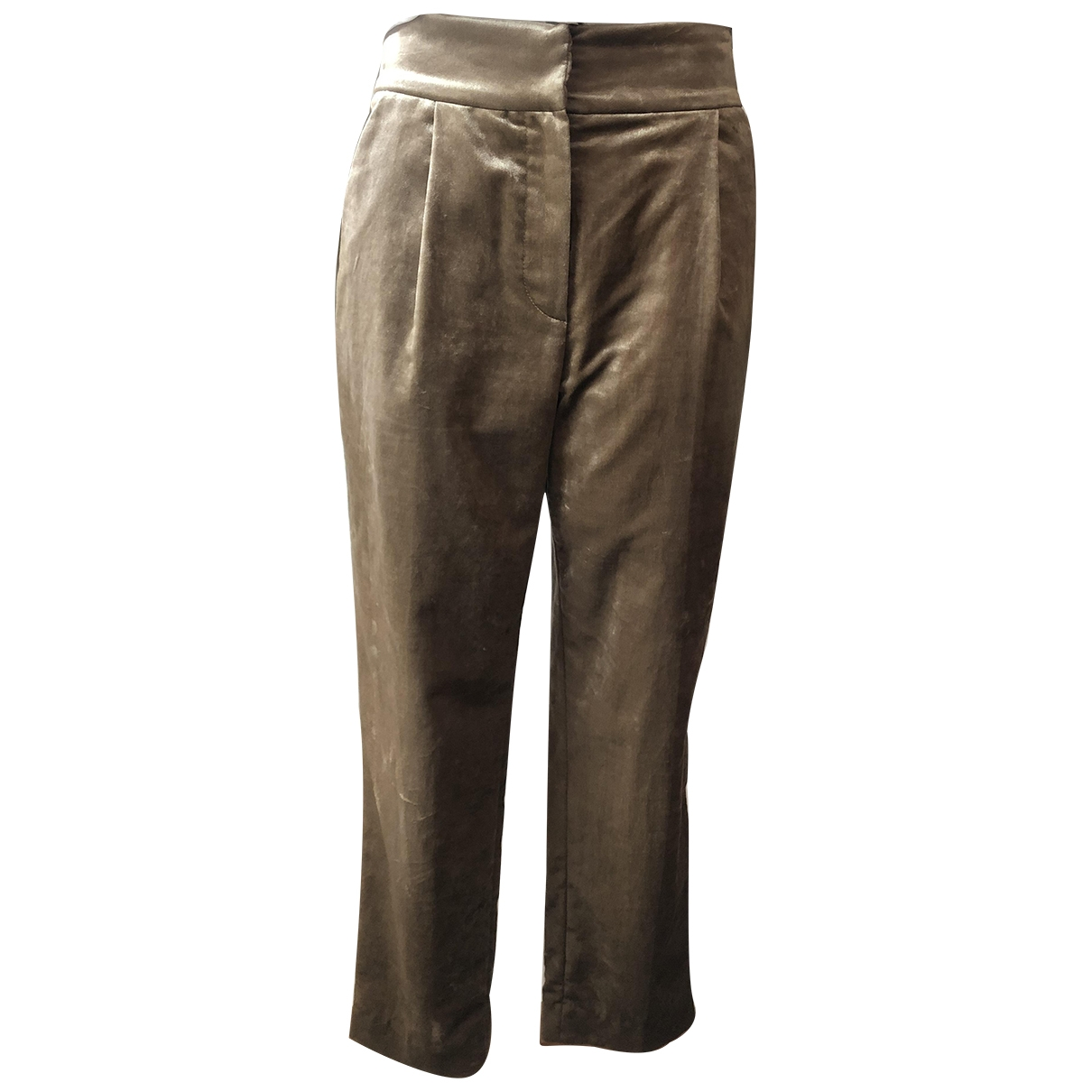 Brunello Cucinelli \N Beige Velvet Trousers for Women 40 IT