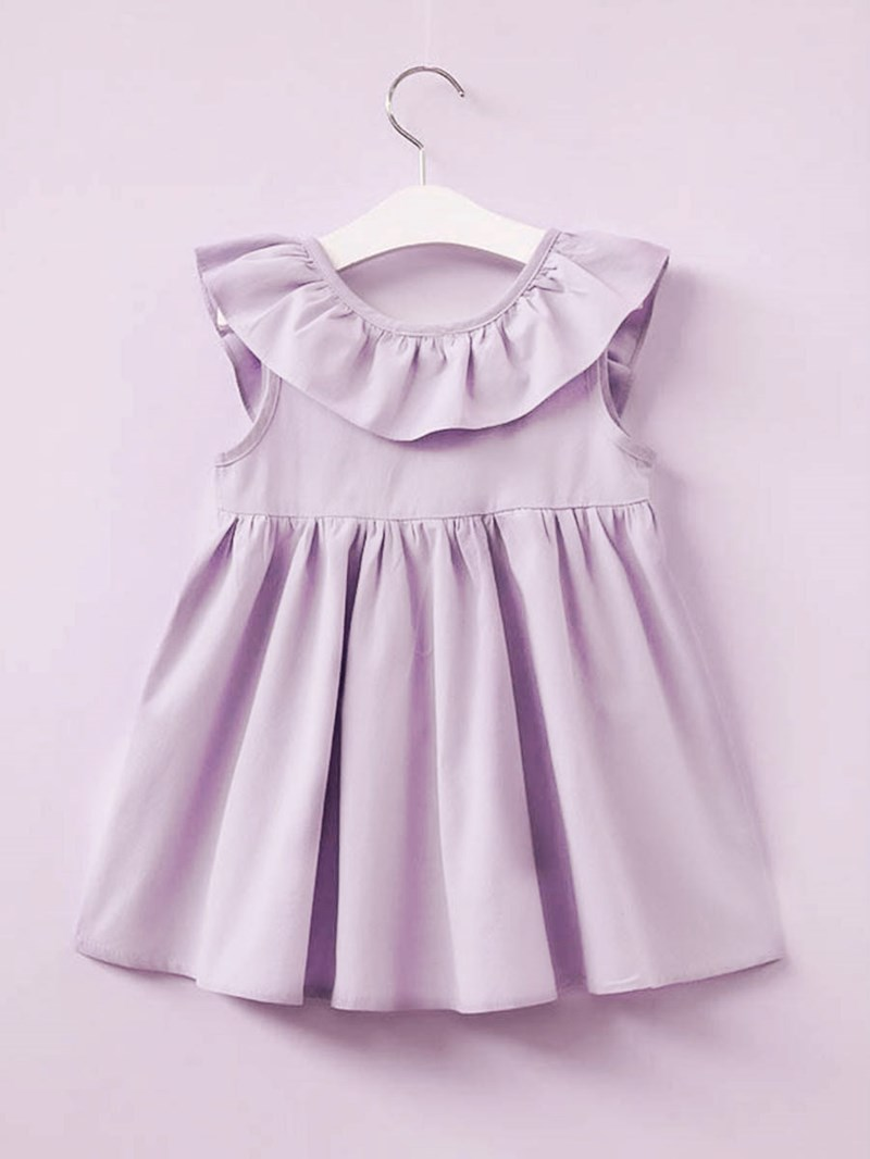 Ericdress A-Line Ruffles Bowknot Girl's Sleeveless Casual Dress