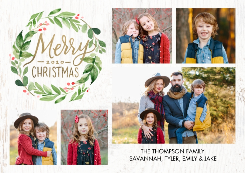 Christmas Photo Cards 5x7 Cards, Standard Cardstock 85lb, Card & Stationery -Christmas 2020 Berries Wreath by Tumbalina