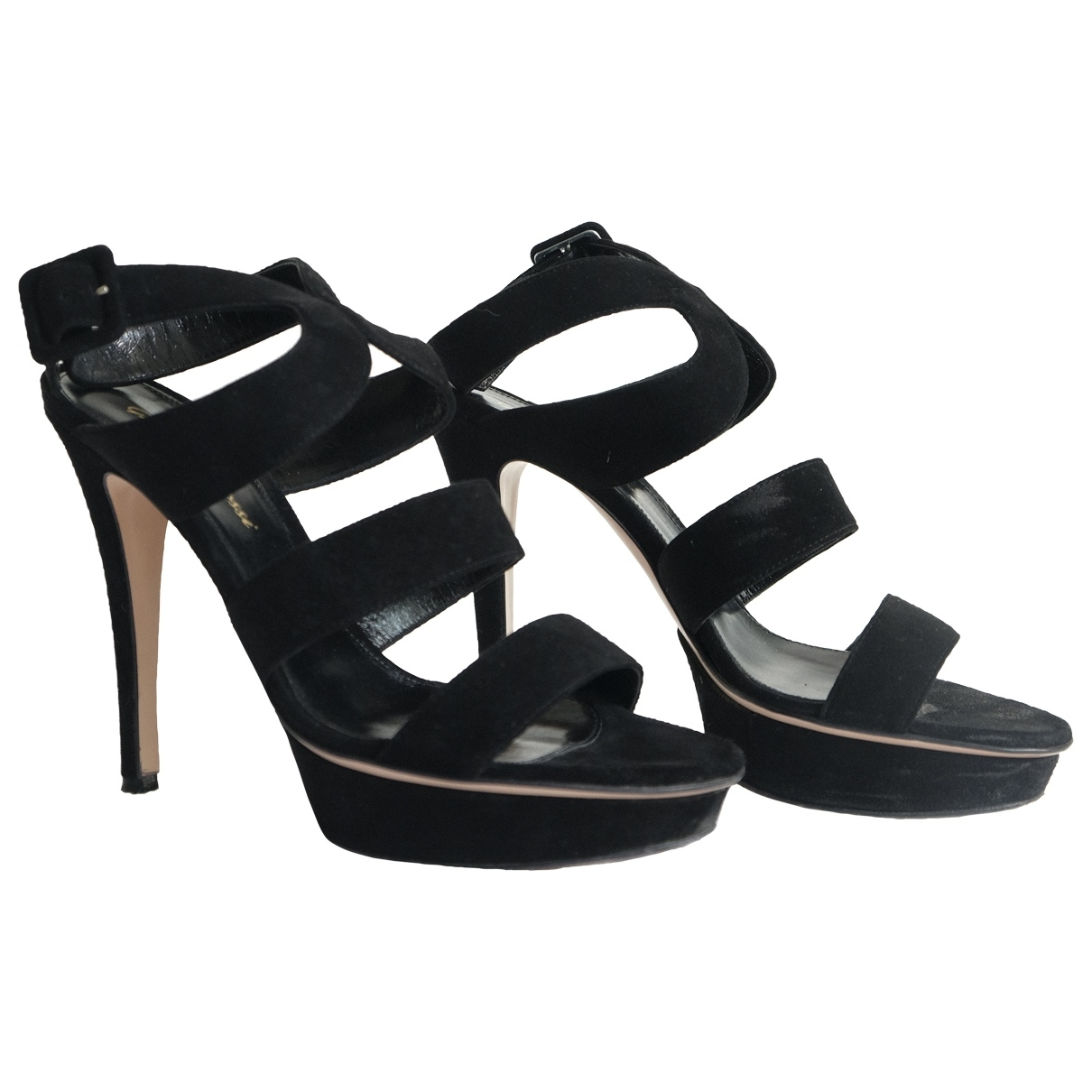 Gianvito Rossi \N Black Suede Sandals for Women 37.5 EU