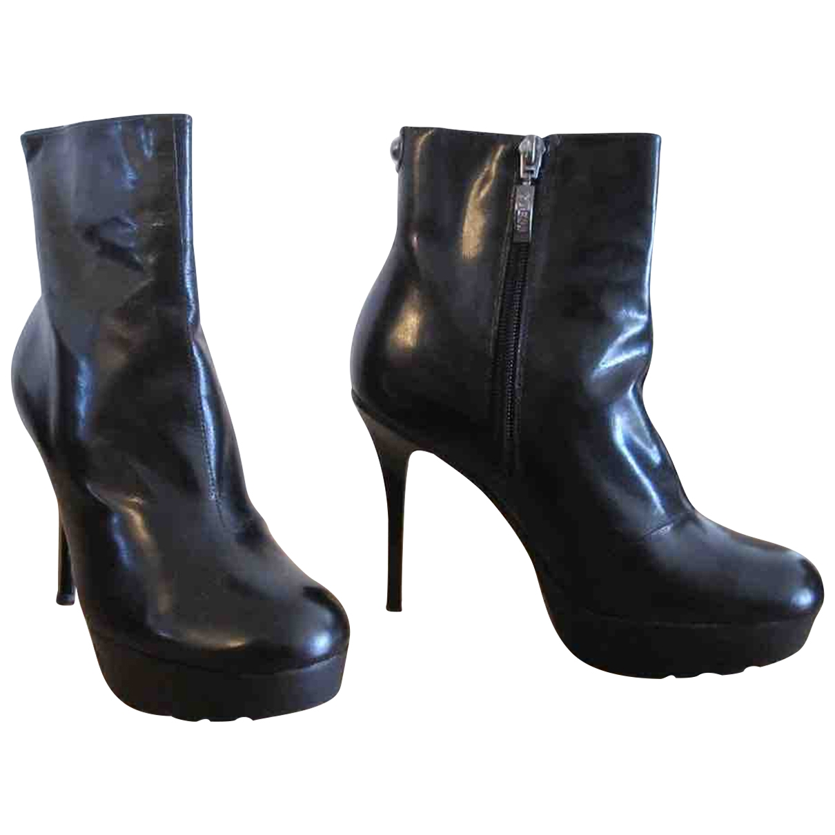 Guess \N Black Leather Ankle boots for Women 36 EU