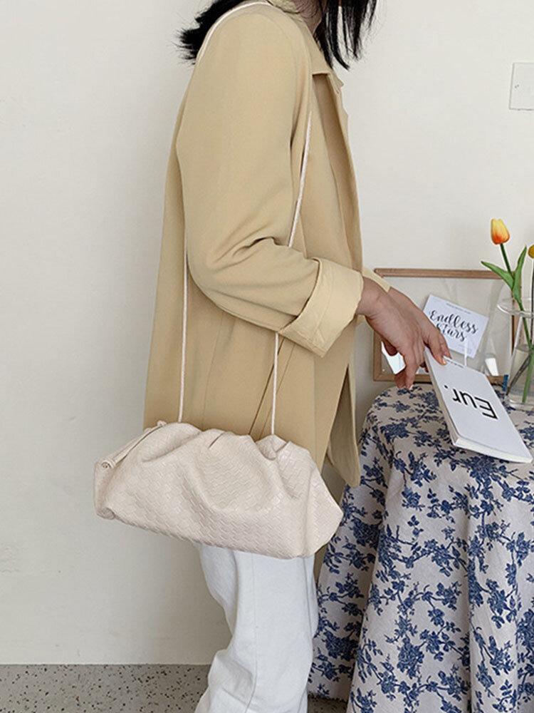 Women Weaving Solid Pouch Crossbody Bag