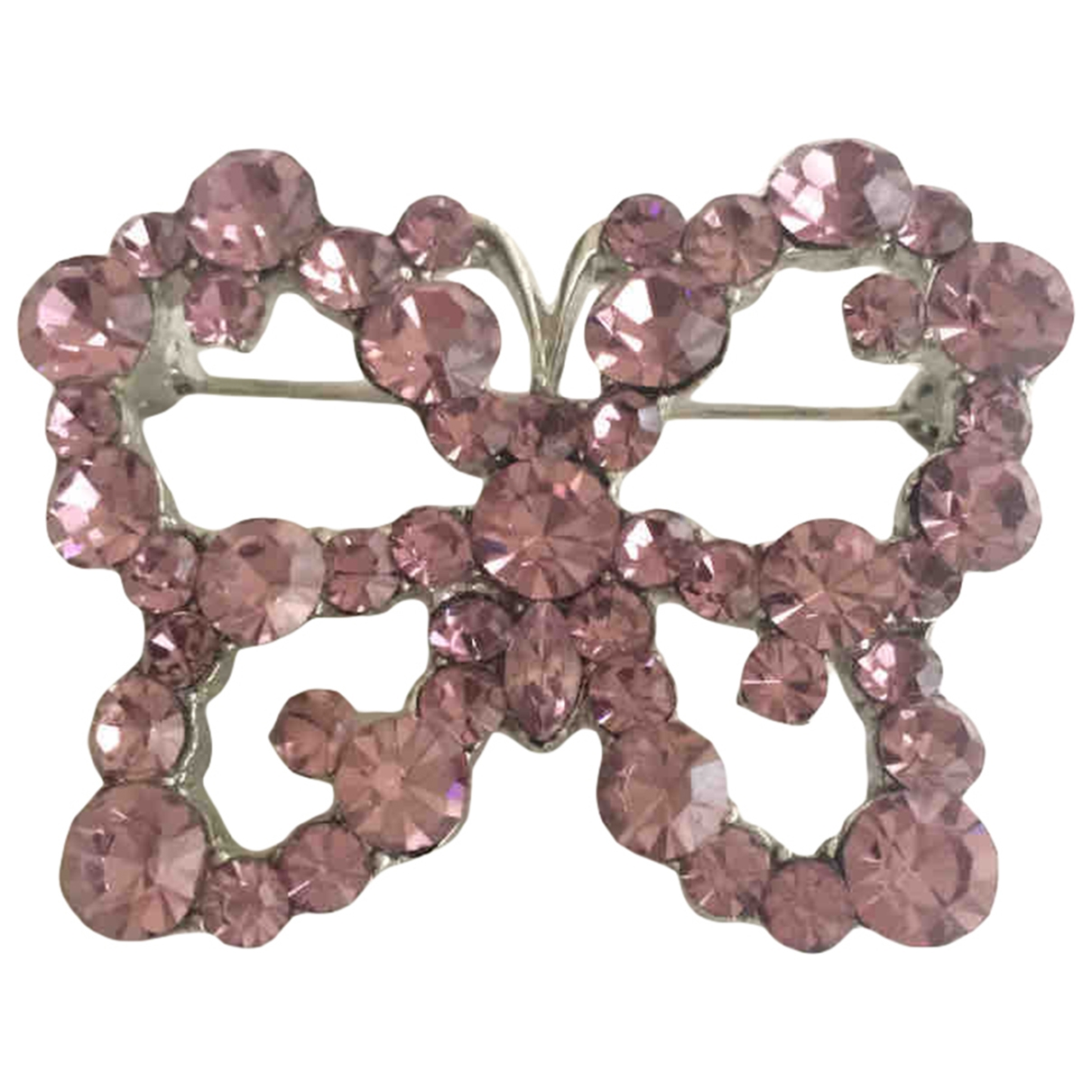 Non Signé / Unsigned Motifs Animaliers Pink Crystal Pins & brooches for Women \N