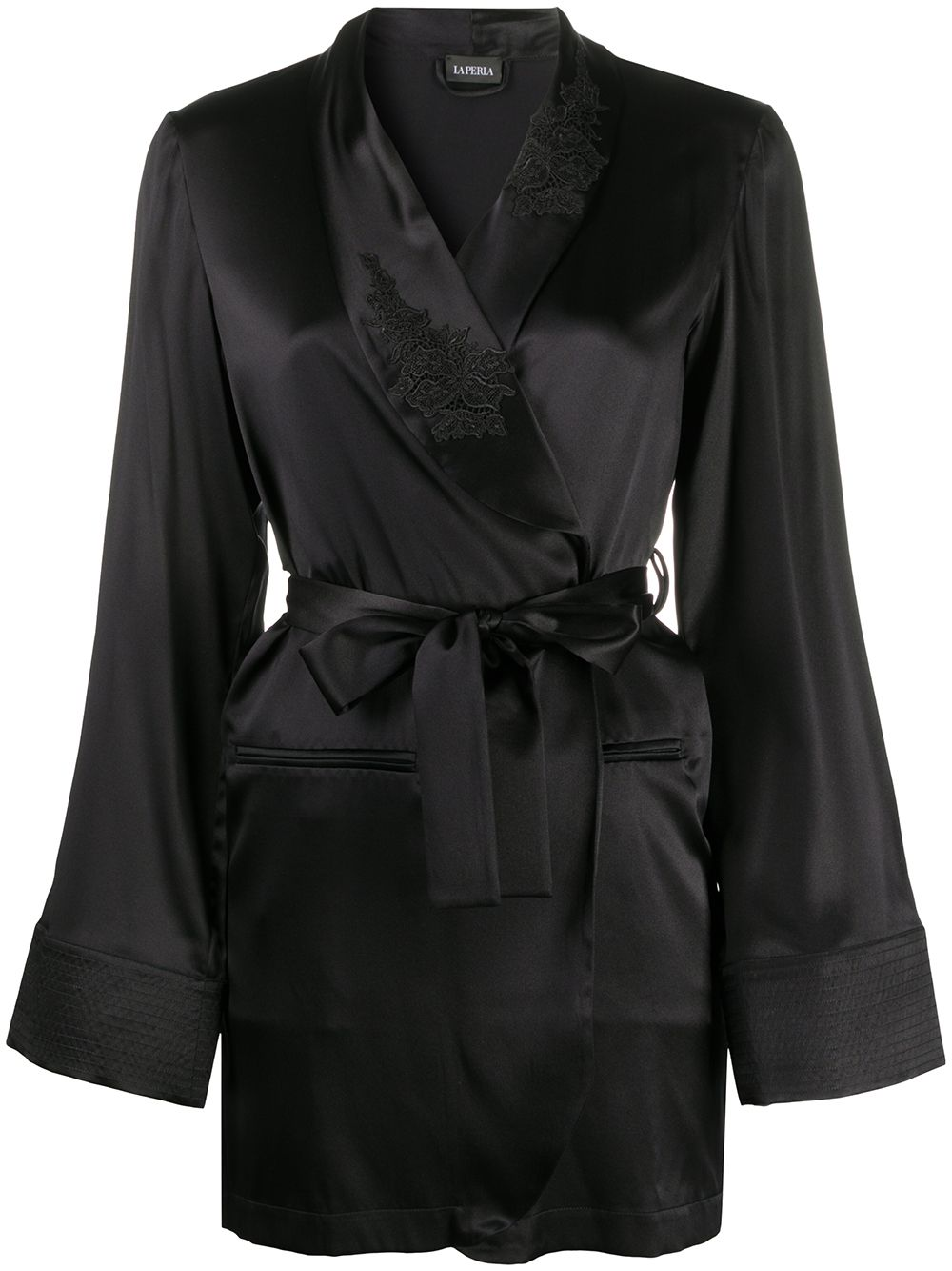 Floral Groove Silk Short Robe