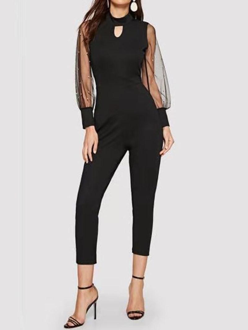 Ericdress Mesh Fashion Bead High Waist Slim Jumpsuit