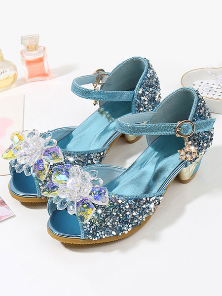 Milanoo Glitter Party Shoes Pink Peep Toe Rhinestones Wedding Flower Girl Shoes