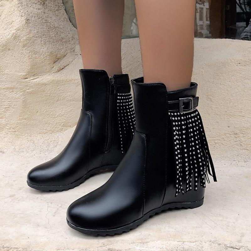 Ericdress Side Zipper Round Toe Hidden Elevator Heel Fringe Boots