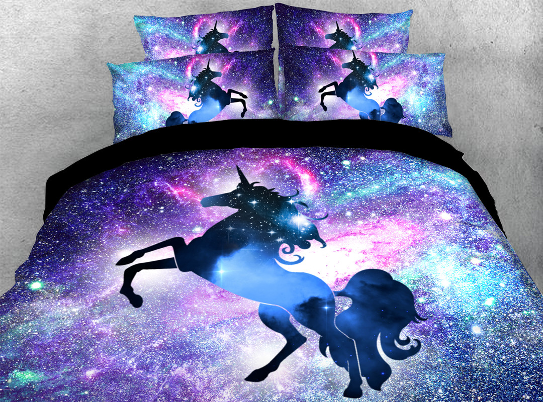 Blue Unicorn 3D 4pcs Animal Durable Bedding Sets No-fading Soft Reactive Printing Zipper Duvet Cover with Ties