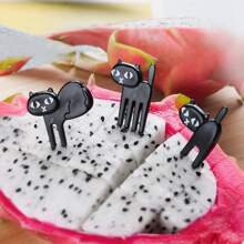 6pcs Cat Design Fruit Fork