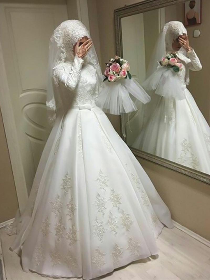 Ericdress Long Sleeves Bowknot Muslim Wedding Dress