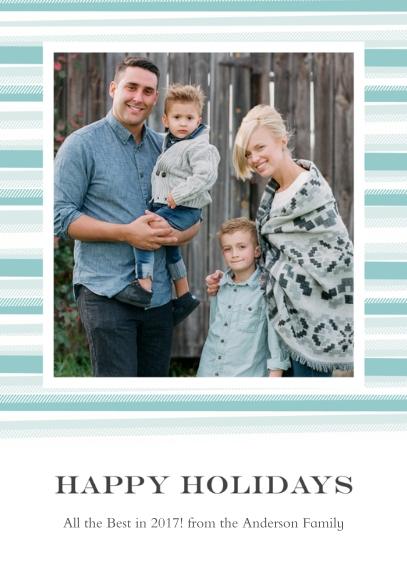 Holiday Photo Cards 5x7 Folded Cards, Premium Cardstock 120lb, Card & Stationery -Blanket Border Happy Holidays