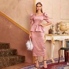 Ditsy Floral Jacquard Puff Sleeve Peplum Satin Dress