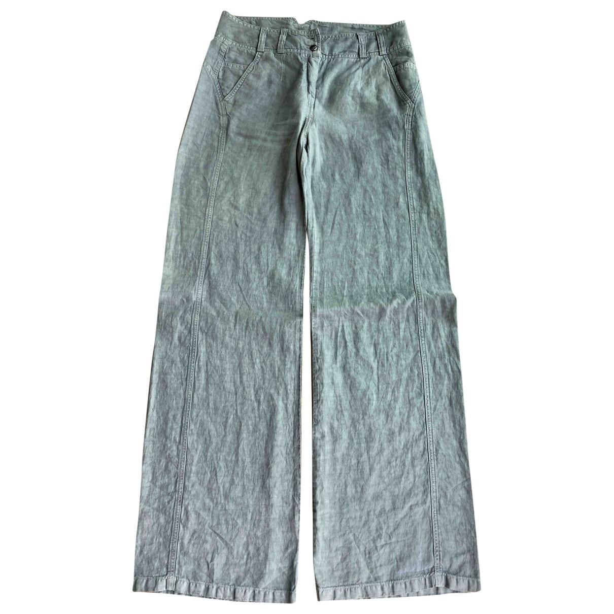 Kenzo \N Grey Linen Trousers for Women 42 IT