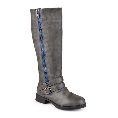 Journee Collection Womens Lady Wide Calf Side-Zip Riding Boots, 9 Medium, Gray