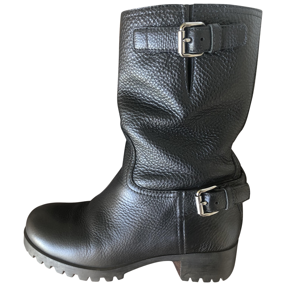 Prada \N Black Leather Ankle boots for Women 36 IT
