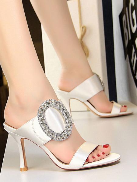 Milanoo Satin Evening Shoes Red Open Toe Rhinestones Backless Sandal Slippers Women High Heel Sandals