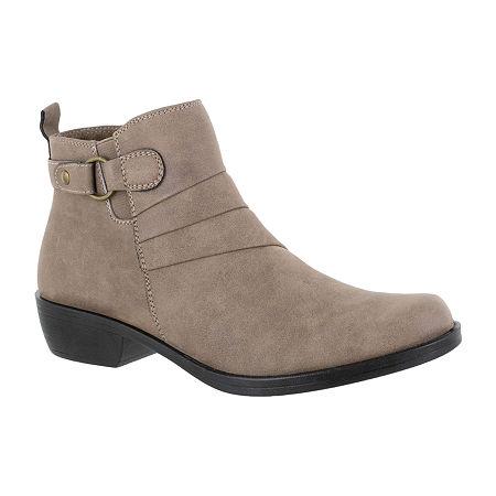 Easy Street Womens Shanna Booties Block Heel, 9 1/2 Wide, White