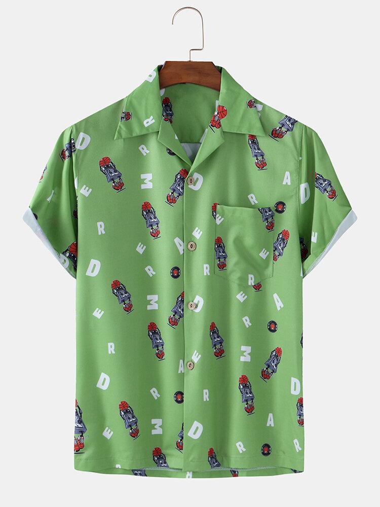 Men Fun Cartoon Printed Beach Holiday Casual Shirt