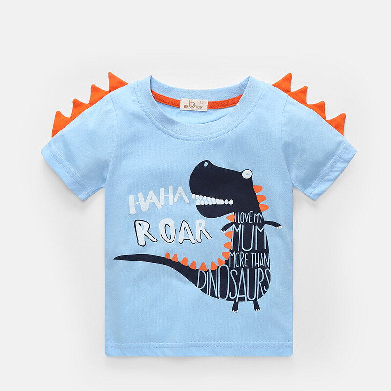 Boy's Cartoon Letter Dinosaur Print Summer Short Sleeve Casual T-shirt For 2-10Y