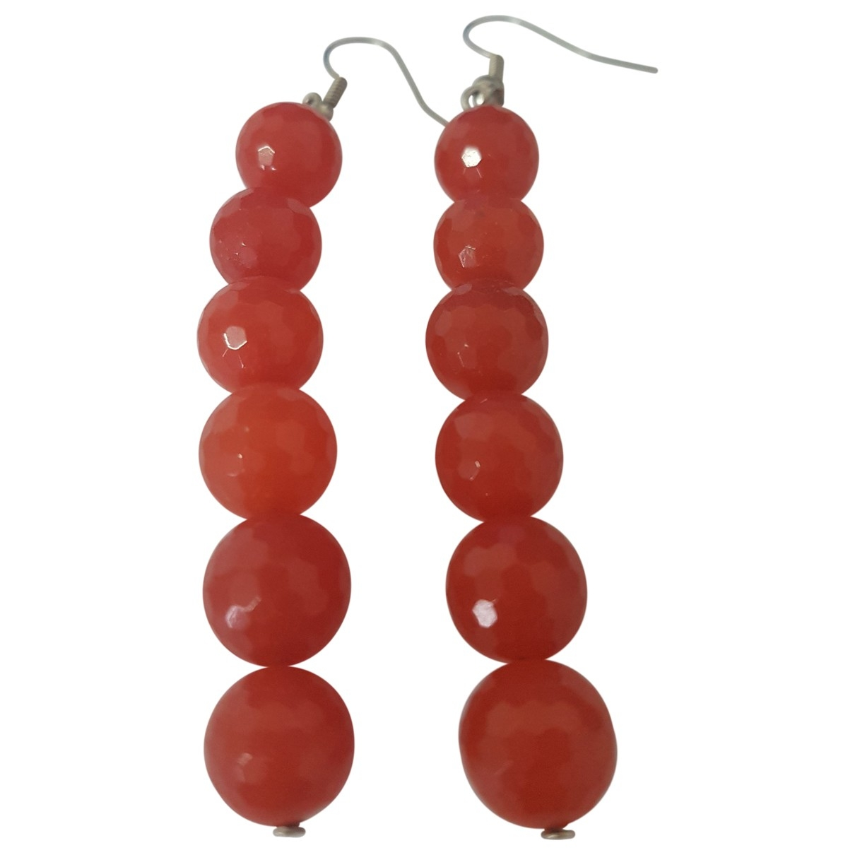 Non Signé / Unsigned Motifs Floraux Red Steel Earrings for Women \N