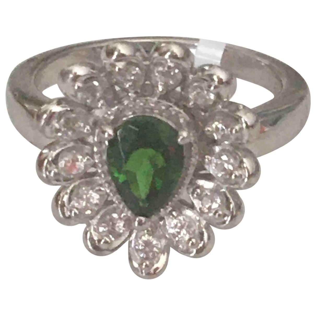 Non Signé / Unsigned \N Green Silver Gilt ring for Women M ½ UK