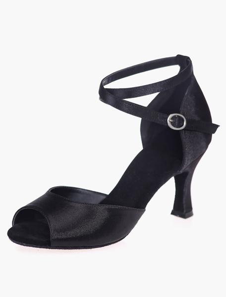 Milanoo Black Satin Ballroom Shoes for Women