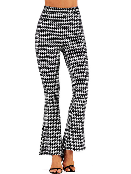 Milanoo High Waist Pants Leopard Print Flare Leg Trousers