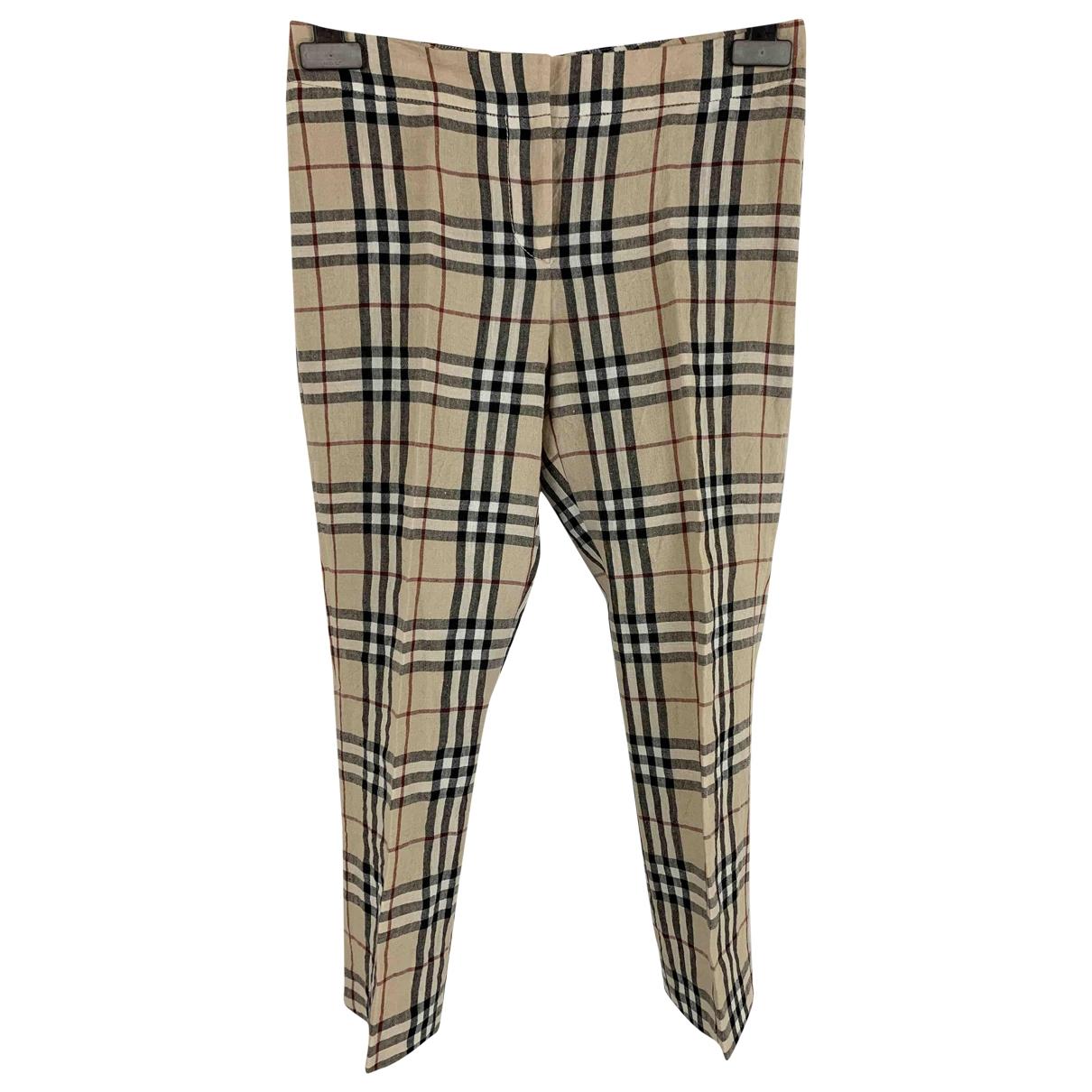 Burberry \N Beige Linen Trousers for Women 4 UK