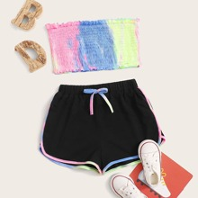 Girls Tie Dye Shirred Tube Top and Dolphin Shorts Set