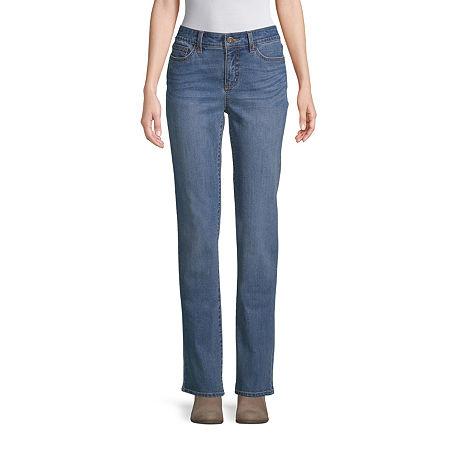 St. John's Bay Womens Mid Rise Straight Leg Jean, 14 Long , Blue